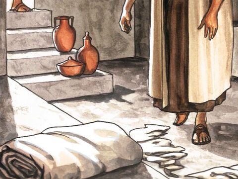 He saw the strips of linen cloth lying there and the facecloth, which had been around Jesus' head, not lying with the strips of linen cloth but rolled up in a place by itself. – Slide 16