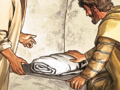 Then the other disciple, who had reached the tomb first, came in and saw and believed. – Slide 17