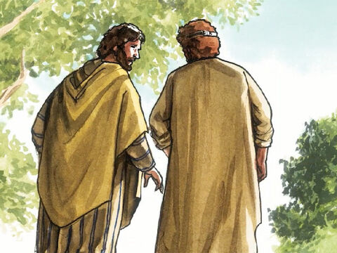 So the disciples went back to their home. – Slide 19
