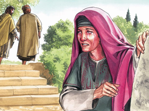 So the disciples went back to their homes but Mary stood outside the tomb. – Slide 1