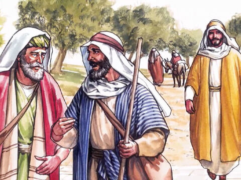 While they were talking and debating these things, Jesus Himself approached and began to accompany them  (but their eyes were kept from recognising him). – Slide 3