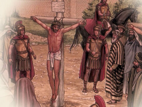 'And how our chief priests and rulers handed Him over to be condemned to death, and crucified Him. – Slide 7