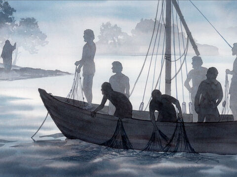 They went out and got into the boat, but that night they caught nothing. When it was already very early morning, Jesus stood on the beach, but the disciples did not know that it was Jesus. – Slide 3