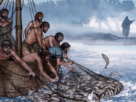 So they threw the net, and were not able to pull it in because of the large number of fish. – Slide 5