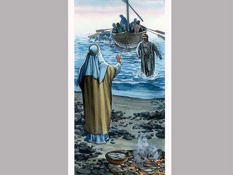Meanwhile, the other disciples came with the boat, dragging the net full of fish, for they were not far from land, only about a hundred yards. – Slide 8