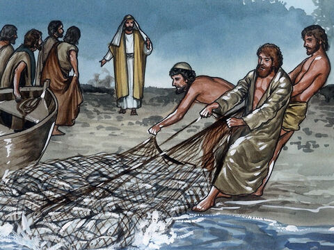 Jesus said, 'Bring some of the fish you have just now caught.' So Simon Peter went aboard and pulled the net to shore. It was full of large fish, one hundred and fifty-three, but although there were so many, the net was not torn. – Slide 9