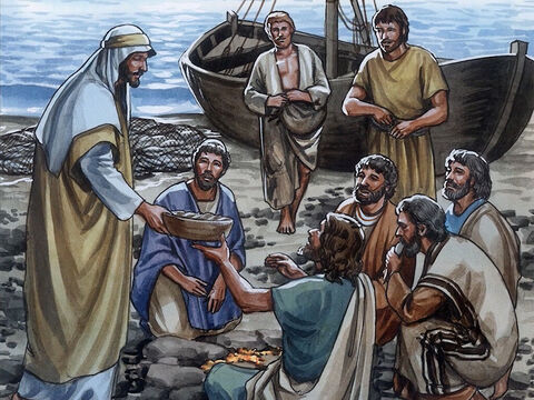 'Come, have breakfast,' Jesus said. But none of the disciples dared to ask Him, 'Who are you?' because they knew it was the Lord. Jesus came and took the bread and gave it to them, and did the same with the fish. This was now the third time Jesus was revealed to the disciples after He was raised from the dead. – Slide 10