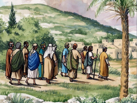So the eleven disciples went to Galilee to the mountain Jesus had designated. – Slide 1