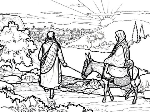 Mary and Joseph set off for Bethlehem. <br/>Luke 2:1–7 – Slide 2