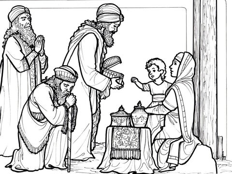 Wise Men from the east visit Jesus and bring Him gifts. <br/>Matthew 2:1-12 – Slide 5