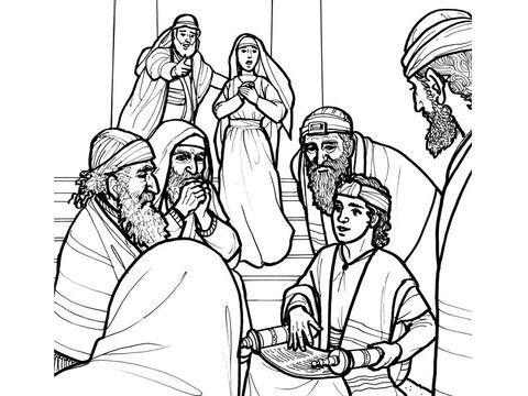 At the age of 12 Jesus is found in the temple amazing the teachers with his knowledge. <br/>Luke 2:41-52 – Slide 6