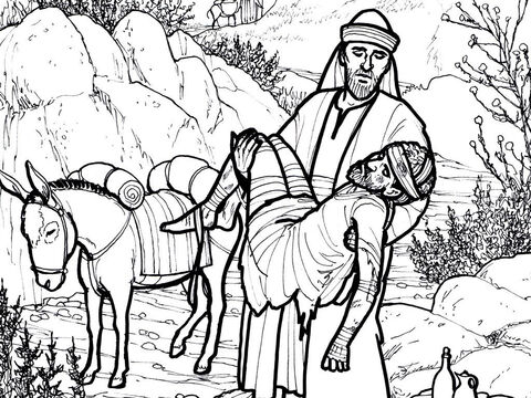 The good Samaritan helps a Jew who has been beaten and robbed. <br/>Luke 10:25-37 – Slide 7