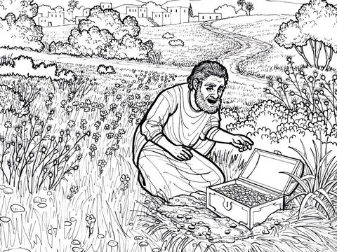 The parable of the treasure buried in a field. <br/>Matthew 13:44 – Slide 9