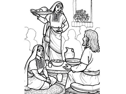 Martha works while Mary sits and listens to Jesus. <br/>Luke 10:38-42 – Slide 10