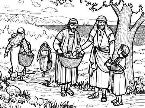 Jesus feeds 5000 with five loaves and two fish. <br/>Matthew 14:13-22, Mark 6:31-46, Luke 9:10-17, John 6:1-13 – Slide 2