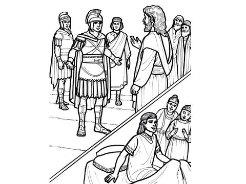 A Roman centurion asks Jesus to heal his servant. When Jesus gives the command, the servant at home is healed. <br/>Matthew 8:5-13, Luke 7:2-9 – Slide 5