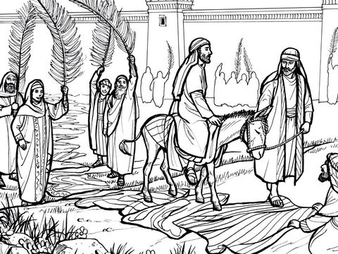 Jesus rides triumphantly into Jerusalem as people wave palm branches and shout 'Hosanna'. <br/>Matthew 21:1-11, Mark 11:1-11, Luke 19:28-44, John 12:12-17 – Slide 1