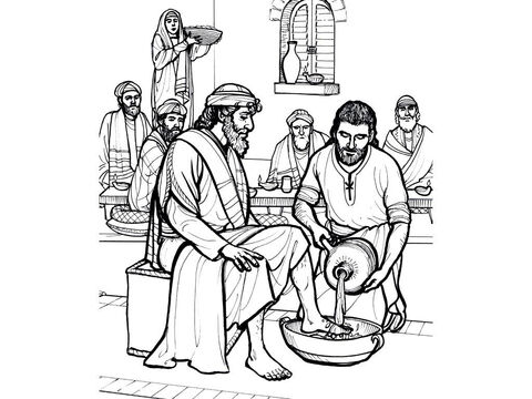 Jesus washes the disciples' feet in the Upper Room. <br/>Matthew 26:17-20, John 13:3-16 – Slide 2