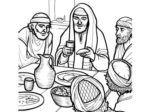 Jesus breaks bread and shares a cup of wine with His disciples at the Last supper. <br/>Matthew 26:17-35, Mark 14:12-31, Luke 22:7-38, John 13:18-38 – Slide 3