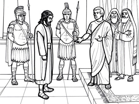Jesus on trial before Pilate. <br/>Matthew 27:11-26, Mark 15:1-15, Luke 23:1-25, John 18:28-40 – Slide 4