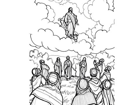Jesus ascends into Heaven and promises to return. Luke 24:44-49, Acts 1:10-11 – Slide 9
