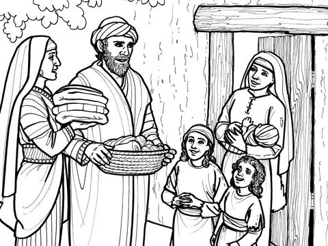 The early believers share their food and possession with those in need. Acts 4:32-36 – Slide 4