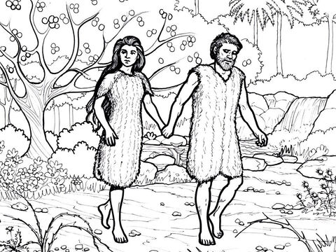 Adam and Eve are dismissed from the Garden of Eden. – Slide 1