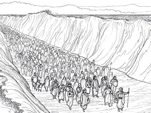 Moses leads the Hebrew slaves through the Red Sea to freedom. – Slide 9