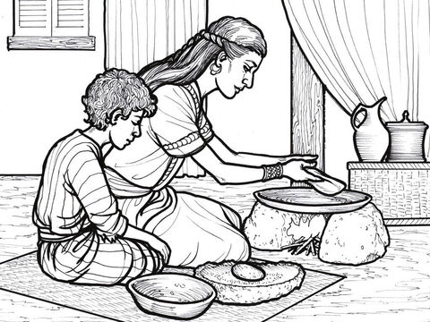 The widow of Zarephath prepares a meal for her son and Elijah. – Slide 1