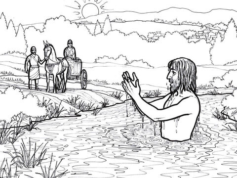 Naaman dips seven times in the river Jordan and is healed of his leprosy. – Slide 3