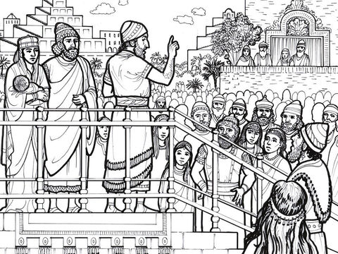 People gather by the Watergate in Jerusalem to hear Ezra read God's laws to them. – Slide 8