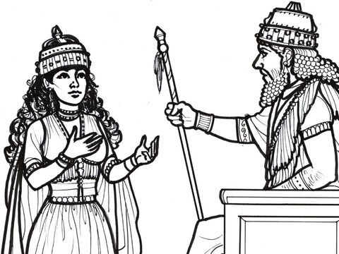 The King of Persia signals that Esther may speak to him. – Slide 9