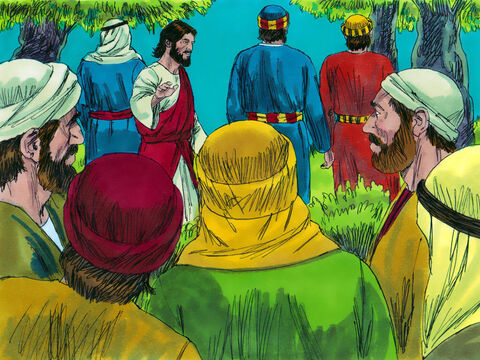 They came to an olive grove called the Garden of Gethsemane. Jesus took Peter, James and John with him and told the others to,  'Sit here, while I go and pray.' – Slide 5