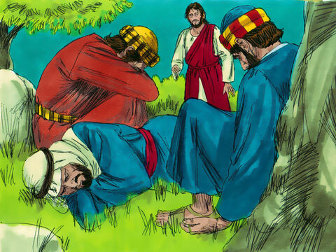 Jesus returned to find the three disciples asleep. Jesus woke them and told Peter, 'Watch with me and pray lest the Tempter overpower you. For though the spirit is willing enough, the body is weak.' But when Jesus returned the second and third time after more prayer the three disciples had fallen asleep once more. – Slide 8