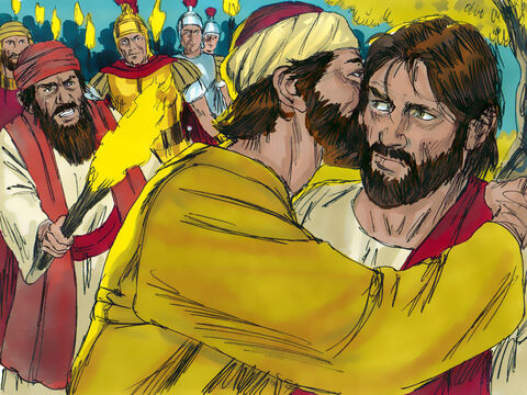 That moment Judas arrived with a crowd equipped with swords and clubs, sent out by the chief priests and other Jewish leaders. Judas had agreed to show them who Jesus was by greeting Him with a kiss. The men seized Jesus and arrested Him.  – Slide 10