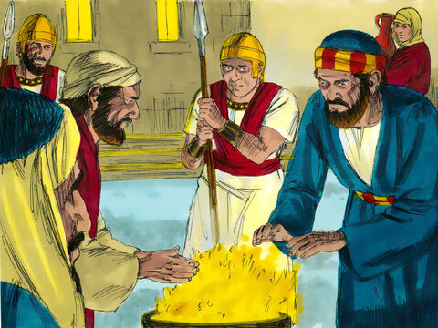 Peter followed, right into the courtyard of the high priest and sat with the guards, warming himself by the fire. – Slide 13