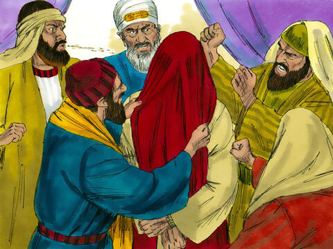 Some began to spit at Jesus. They blindfolded Him, struck Him with their fists, and said, 'Prophesy!' And the guards took Him and beat Him. – Slide 19