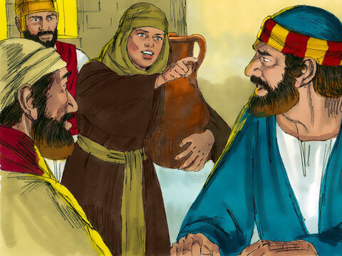 While Peter was in the courtyard, one of the servant-girls of the high priest came by. She looked closely at Peter and said, 'You were with that Nazarene, Jesus. Peter denied it. 'I don't know what you're talking about,' He replied. – Slide 20