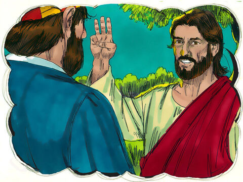 Jesus turned round and looked at Peter. Peter remembered what Jesus had said earlier, 'Before the cock crows, you will deny me three times.' – Slide 23