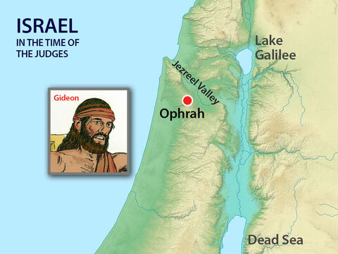 Then the Israelites cried out to theLordfor help. God sent prophets to tell them not to worship idols but they did not listen. Then an angel of God went and sat under the great tree at Ophrah belonging to Joash. – Slide 4