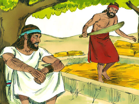 Joash's son Gideon was threshing wheat at the bottom of a winepress. The angel greeted him, 'Mighty hero, the Lord is with you!' Gideon replied, 'If the Lord were with us why have we been handed over to the Midianites? The Lord's angel said, 'Go with the strength you have, and rescue Israel from the Midianites. I am sending you!' Gideon retorted, 'My clan is the weakest in the tribe of Manasseh, and I am the least in my family!' The Lord replied, 'I will be with you. And you will destroy the Midianites as if you were fighting against one man.' Disbelieving Gideon asked for a sign. – Slide 5