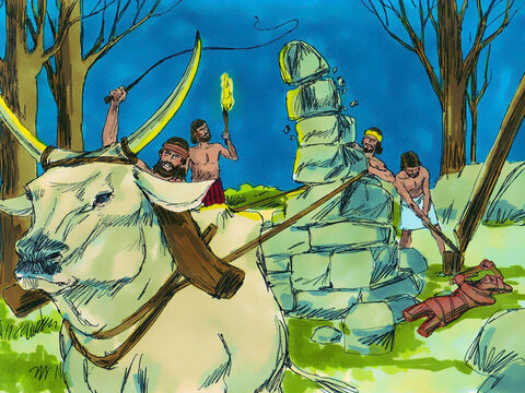 With the help of 10 servants Gideon took one of his father's bulls and pulled down his father's idol of Baal. They cut down the pole his family used to worship the idol Asherah. – Slide 9