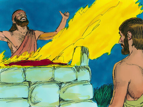 Then he made an altar to God, placed the wood of the Asherah pole on it and sacrificed the bull to God. – Slide 10