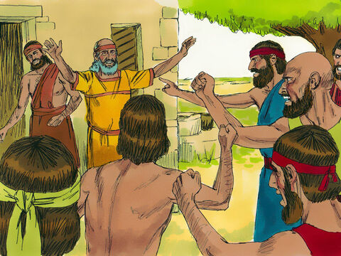 The next morning the people of the town were furious to find the idols had been destroyed. When they discovered Gideon had done this, a mob gathered outside Joash's house demanding Gideon's death. Joash confronted the mob, 'Why are you defending Baal? If Baal truly is a god, let him defend himself and destroy the one who broke down his altar!'  From then on Gideon was called Jerub-baal, which means 'Let Baal defend himself'. – Slide 11