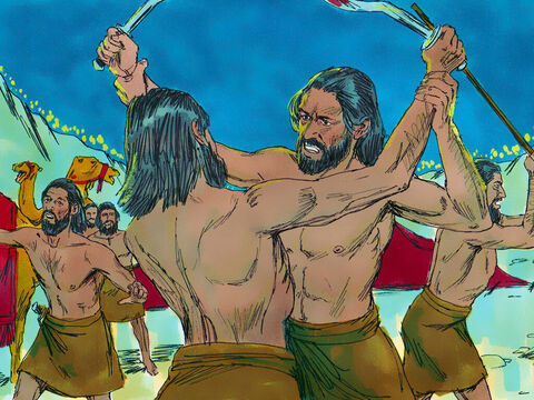 Each man stood still and watched as the lord caused the Midianites to rush around in a panic. They began fighting among each other with their swords. – Slide 9