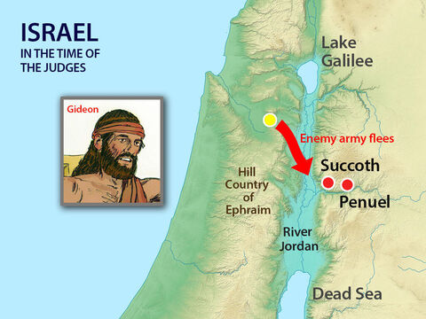 Those who were not killed fled back to the river Jordan. Gideon sent for the warriors of Naphtali, Asher, and Manasseh, to chase them. He also sent messengers throughout the hill country of Ephraim to cut the enemy off at the shallow river crossings. – Slide 10