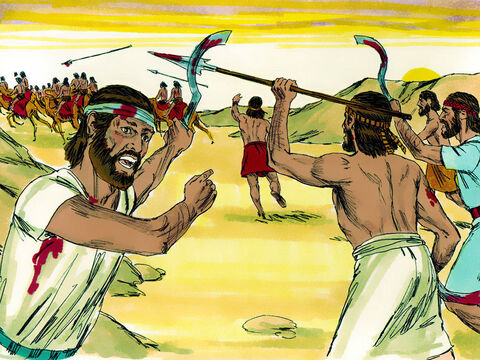 When the Midianites fled for their lives, Gideon and his 300 men gave chase. The men of Ephraim captured and executed the Midianite commanders Oreb and Zeeb but Zebah and Zalmunna, the kings of Midian, crossed the River Jordan with 15,000 warriors and camped at Karkor. – Slide 1