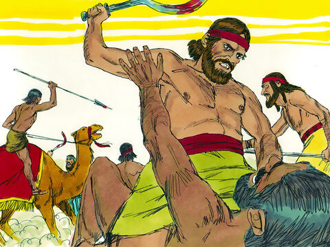 Zebah and Zalmunna, the two Midianite kings, fled, but Gideon gave chase and captured all their warriors. When Gideon discovered Zebah and Zalmunna had killed his own brothers he executed them. – Slide 5