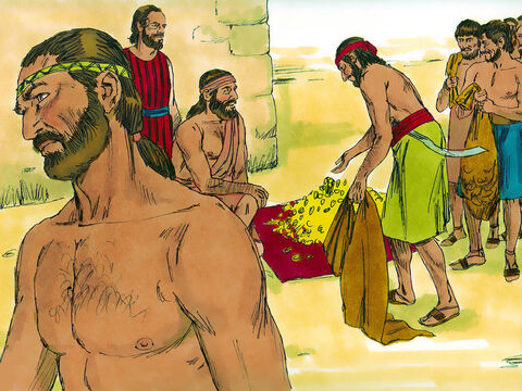Gideon then asked that each of them give him a golden earing plundered from the enemy troops. The weight of the gold earrings was 43Ibs (20kg). Gideon also received golden chains and purple robes taken from the enemy. – Slide 8