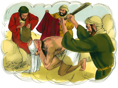 'Robbers attacked him, took his robes, and beat him up, leaving him half dead. – Slide 6